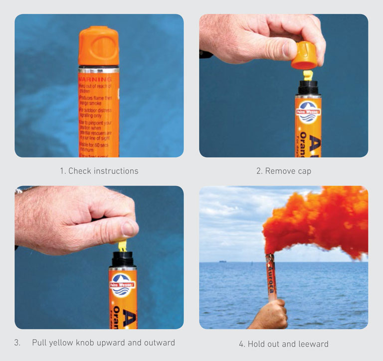 Instructional image showing how to safely deploy distress flares
