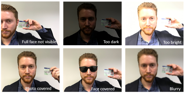 Shows examples of unacceptable proof of identity photos (selfies) for driver accreditation application - full face not visible, too dark, too bright, photo covered, face covered and blurry.