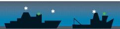 Diagram showing the correct navigation lights of larger vessels - side on