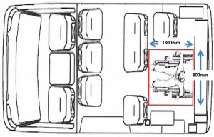 Image of a WAT vehicle with the outline of its allocated floor space for one passenger.