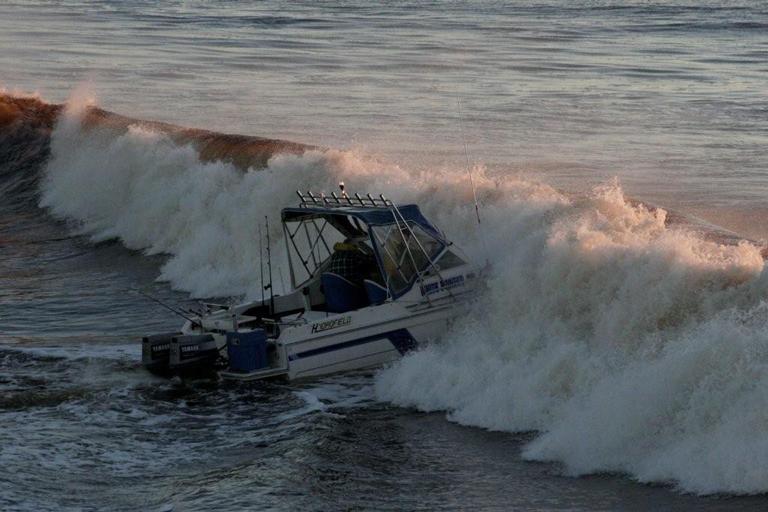 Boat crossing a sand bar